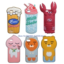 "3D Lovely Beer Milk Shake Lobster Soft Case For iphone 5S SE 5C 6 6S  7 Plus 5.5"" Panda Fox Sheep Bear Cover Phone Bags"