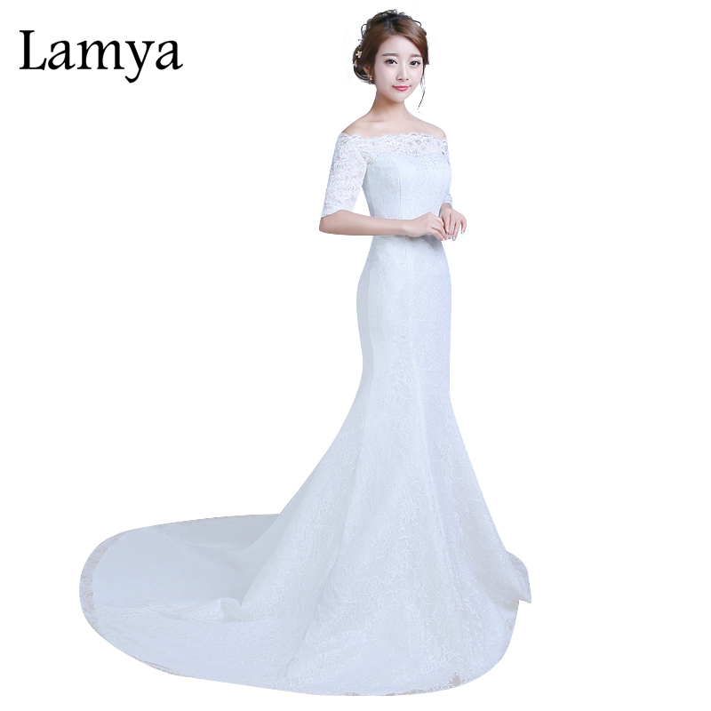 Lamya new designer lace mermaid wedding dress plus size for Plus size mermaid wedding dresses with sleeves