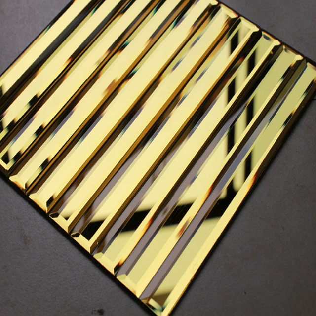 5 Beveled Gold Mirror Strip Gl Mosaic Tiles Showroom Gate Frame Lobby Hall Decoration