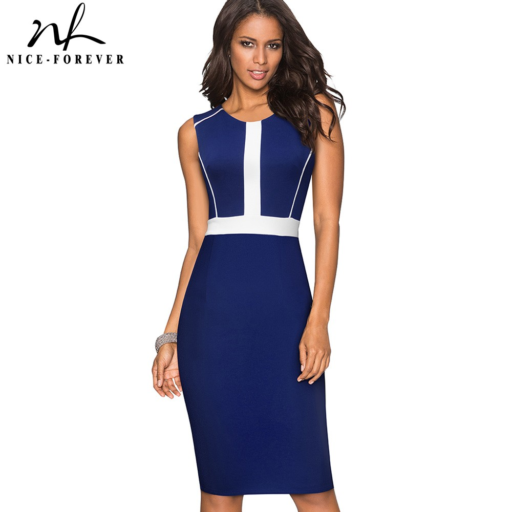Vintage Contrast Color Patchwork Sheath Vestidos Business Work Office Bodycon Women Female Dress B530