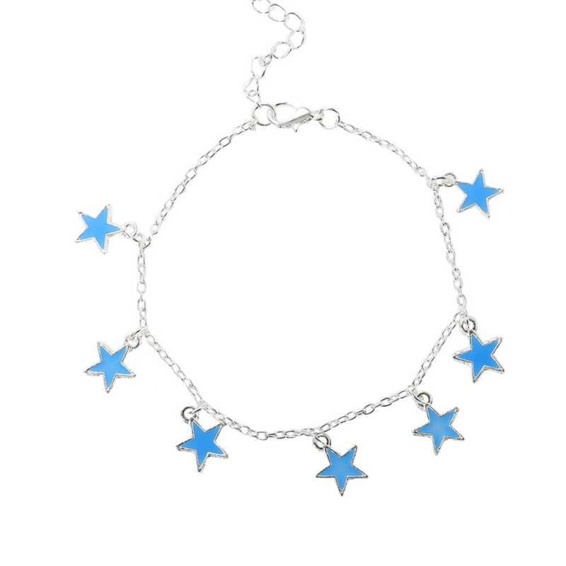 発光星ブレスレットライトアップアンクレットブルー蛍光ジュエリーダークバレンタインデーの足チェーンパーティー用品
