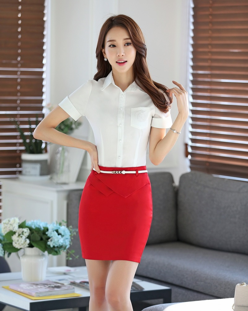 summer fashion 2 sets business suits with skirt and top sets blouse shirts