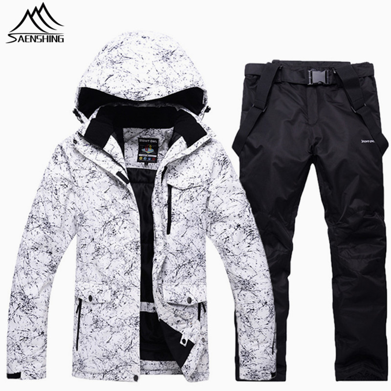 Saenshing Waterproof ski suit men women camping Mountain skiing suit for men thicken warm ski snow jacket+snowboard pant ski Set le suit women s water lilies woven pant suit with scarf