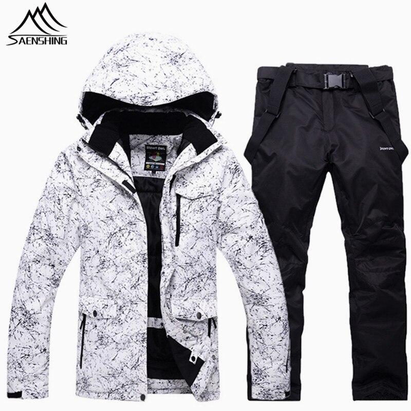 a01f9b0c479810 € 171.04 |Saenshing Étanche combinaison de ski hommes femmes camping  Montagne ski costume pour hommes épaississent chaud ski de neige veste + ...