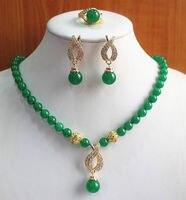 קנס מילה מצופה תכשיטי פנינת אבן קוורץ של גברת בסדר אמיתי ירוק יקר רן סטון שרשרת עגיל תכשיטי טבעת