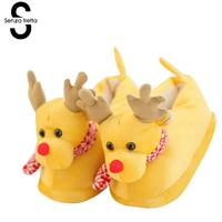 Senza Fretta Winter Warm Cotton Slippers Christmas Elk Cute Cartoon Plush Slippers Indoor Warm Couples Slippers