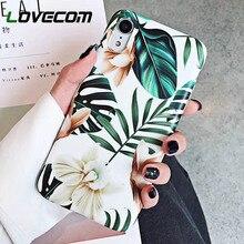 LOVECOM Sanat Çiçekler Yaprak Telefon iphone için kılıf XS Max iphone için kılıf X XR 6 6 S 7 8 Artı arka kapak Moda IMD durumla...