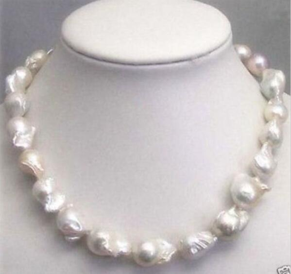 Huge 15-20MM WHITE SOUTH BAROQUE PEARL NECKLACE 18