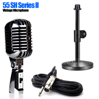 55SH Tabletop Stand 6.5mm Jack Wired Pro Metal Dynamic Retro Vintage Microphone Holder For DJ Controller Launchpad Home Studio