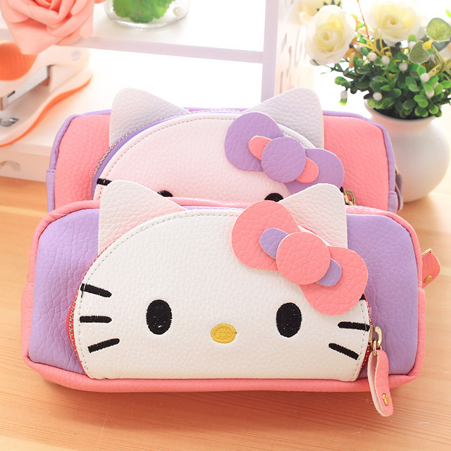 a36704b72d Kawaii Hello Kitty Girls Pencil Case PU Large Capacity Case Kids Pencil Bag  Korean Stationery School Supplies