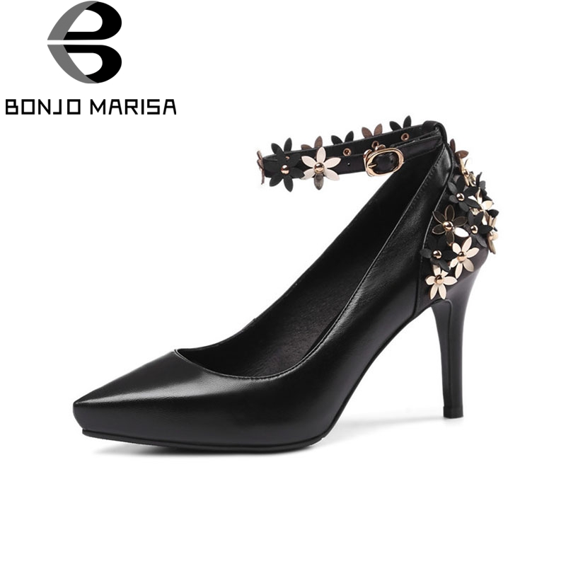 BONJOMARISA 2018 Spring Autumn Sexy Sweet Genuine Leather Women Pumps Pointed Toe High Heels Party Wedding Flower Shoes Woman classical spring autumn 18cm super high heels sexy pu leather sweet platform pumps women party wedding shoes plus size smybk w14