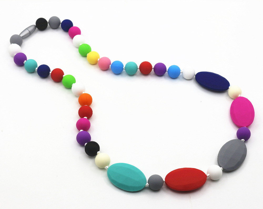 Baby and Mommy Beads Food Silicone Teething Necklace Pendants Nursing necklace rainbow chew necklace,baby teether bead necklace