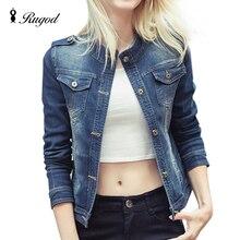 Rugod 2017 поступила новая мода женская джинсовая куртка vintage вскользь пальто женщин джинсовая куртка для верхней одежды женщин основные пальто