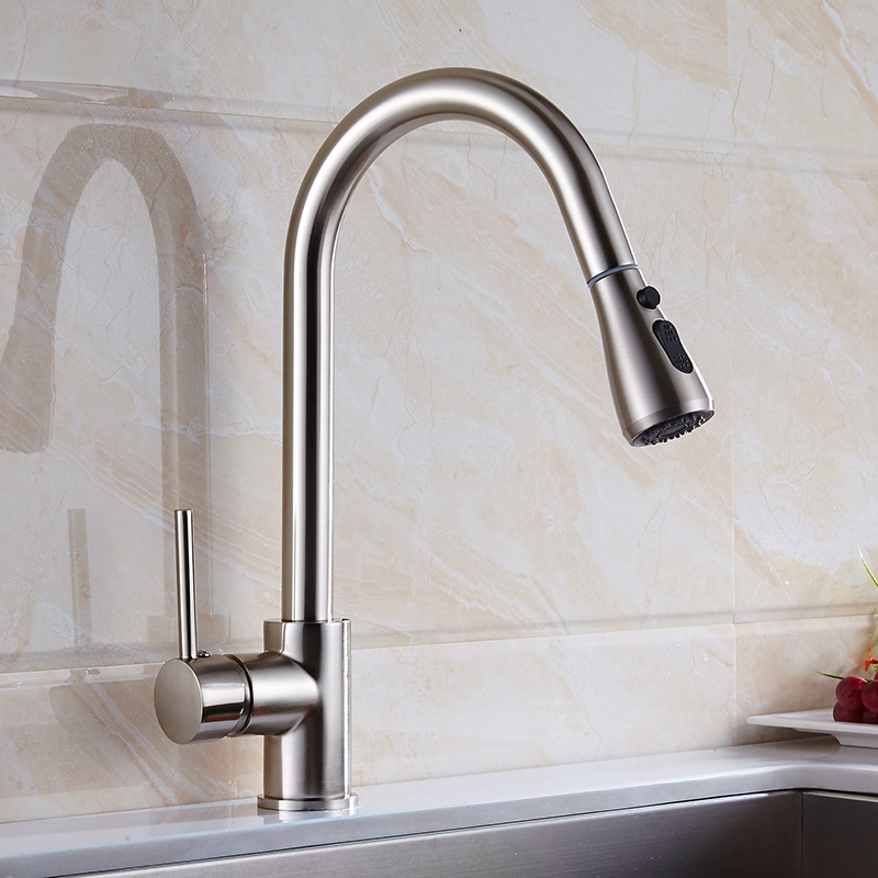 Nickel brush Finish Kitchen Faucet Pull Out Kitchen Mixer Tap 2 Way ...