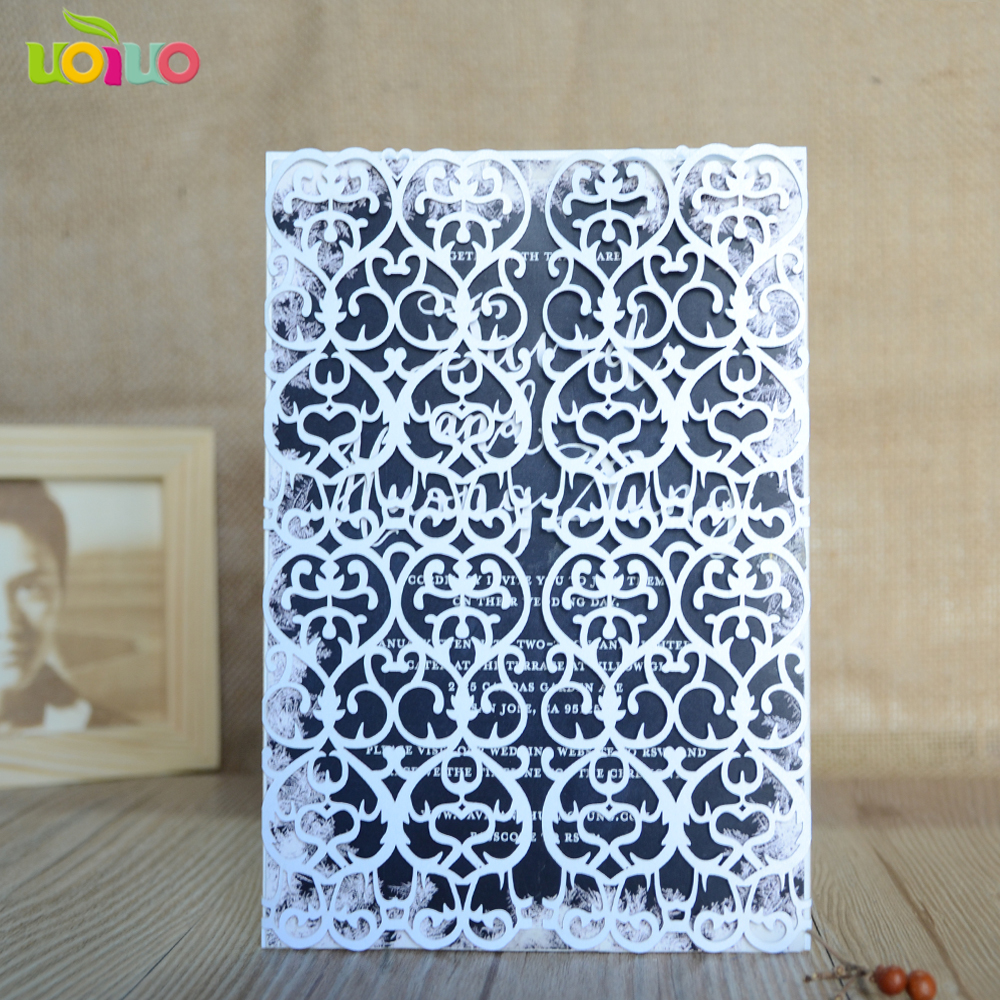 50pcs Standard Size White Laser Cut Pearl Paper Wedding