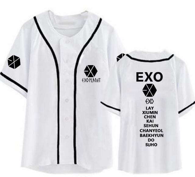 New arrival exo planet all member name printing baseball t-shirt for summer  kpop exo L single breasted short sleeve t shirt fa6d7a20d832