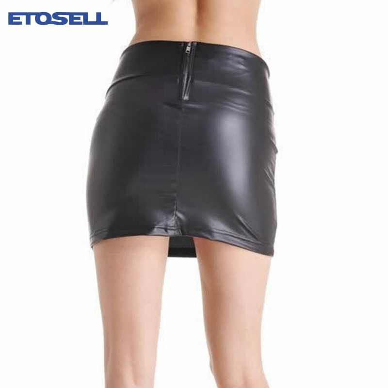 276fc1e13f ... ETOSELL Sexy Bodycon Mini Skirt Party High Wasit Clothing Faux Leather  Zip Female Short Pencil Skirts ...