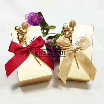 Wedding Favor Golden Unique DIY Bead Flower Rectangle Paper Candy Box Gifts Boxes For Guest