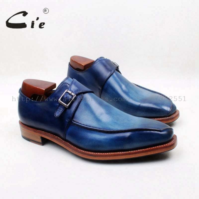 cie Square Toe Handmade Hand-Painted Navy Natural Calf Leather Welt Goodyear Genuine Calf Leather Breathable Men's Shoe MS130 купить часы haas lt cie mfh211 zsa