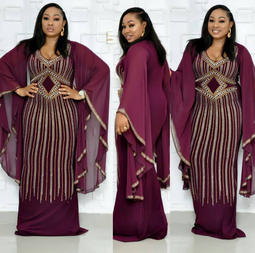 2019 New Elegent Fashion Style African Women Plus Size Long Dress L-XXL