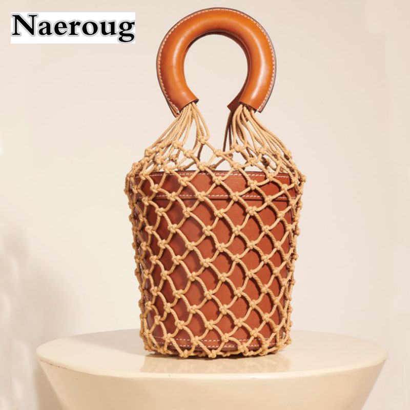 Hot Sale Woven Rope Grid Cowhide Leather Bucket Tote Bag Fashion Genuine Leather Handbag Luxury Beach Handbag Women Bag Designer [whorse] brand luxury fashion designer genuine leather bucket bag women real cowhide handbag messenger bags casual tote w07190