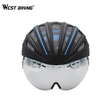 WEST BIKING Ultralight Bicycle Helmet With Lens 280g Goggles Cycling Helmet Double Layers Casco Ciclismo In-mold MTB Bike Helmet