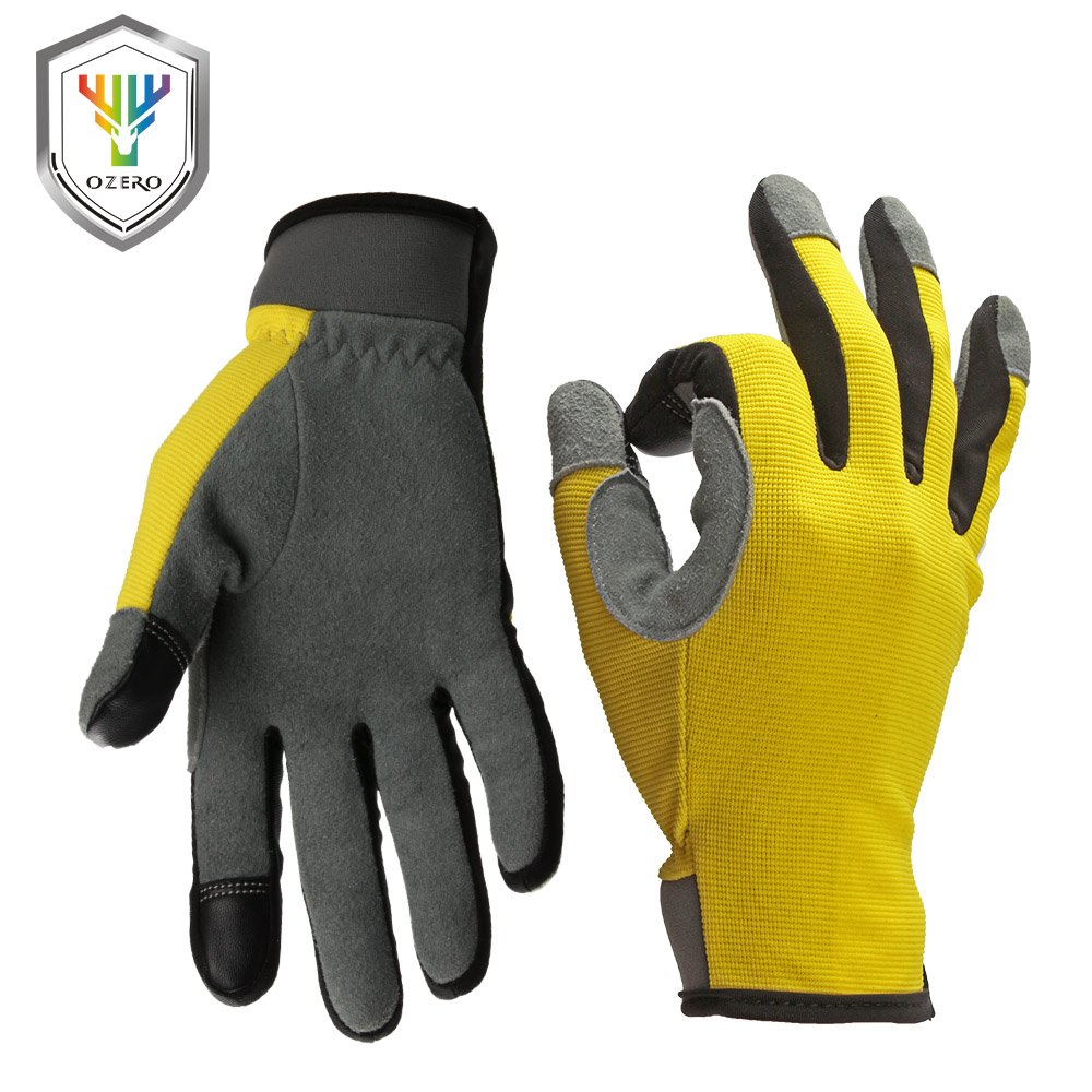 OZERO Running Gloves Touch Screen Gloves Sports Outdoor Deerskin Leather Moto Racing Cycling Bike Gloves For Men Women 8009