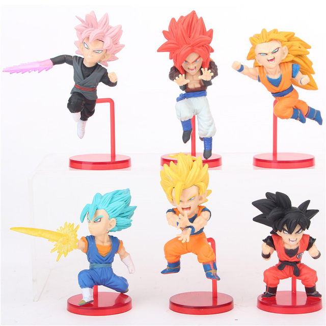 6pcs wcf dragon ball super action figure toy fighting super saiyan collection son goku son gohan