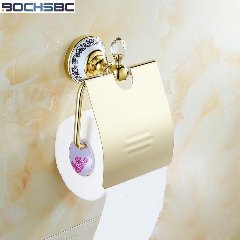 BOCHSBC Full Copper Toilet Paper Holder European Classical Gold Antique Toilet Roll Paper Rack Bathroom Accessories стоимость