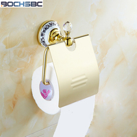 BOCHSBC Full Copper Toilet Paper Holder European Classical Gold Antique Toilet Roll Paper Rack Bathroom Accessories
