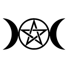 Car stying 15cm*8cm Triple Moon Goddess Wicca Pentacle Ccartoon Stickers DecalsVinyl Graphics Decals   Jdm triple moon