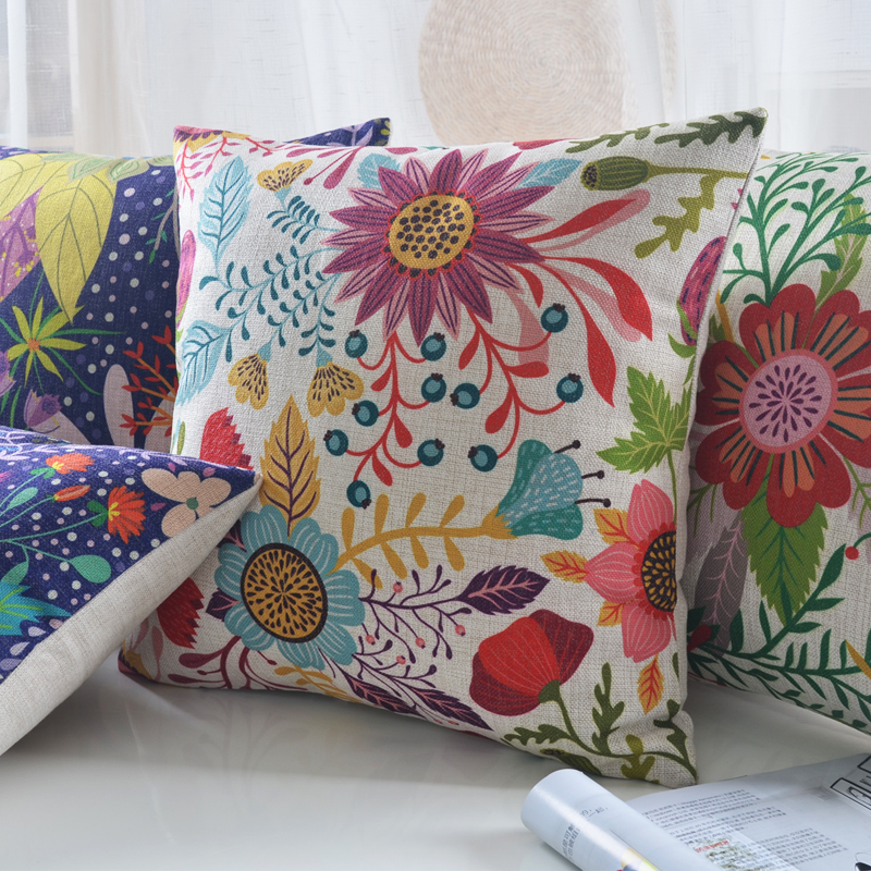 Modern Colourful Elegant Floral Cushion Cover For Sofa