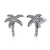 925 Silver Zircon Coconut Tree Stud Earrings Classic Sterling Silver Earring For Women Plant Shape Jewelry
