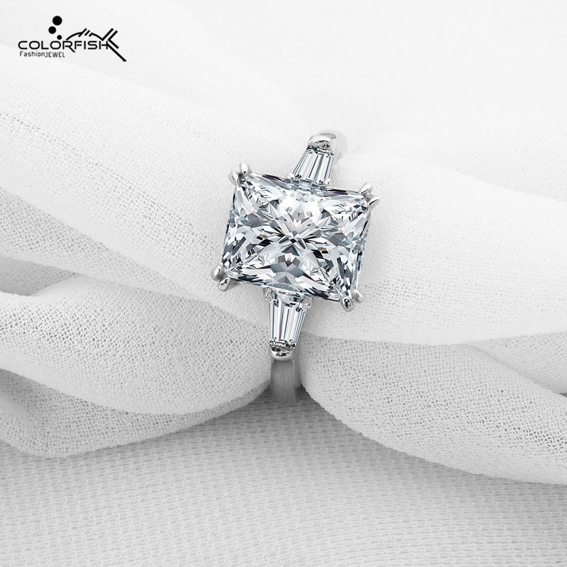 COLORFISH Solid 925 Sterling Silver Three Stone Ring Brilliant 3 Carat Rectangle Sona Synthetic Women Ring