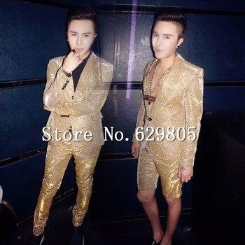 Fashion Shining Gold Gradient Color Suits Set Male Singer Nightclub Focus Skinny Suit Blazer Trousers Short Bar Costume