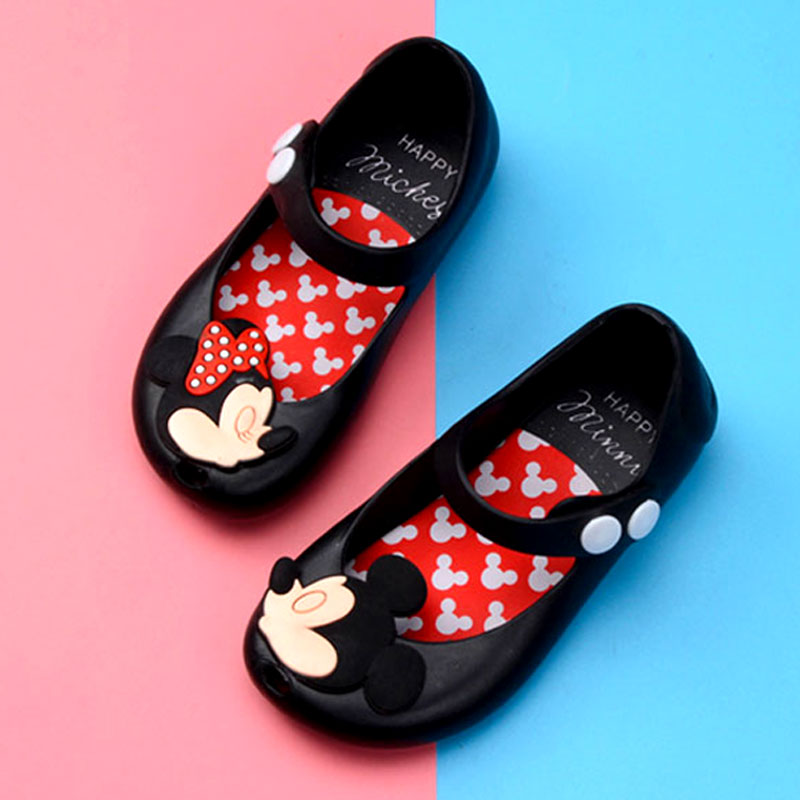 Girls  Sandals Melissa Summer Shoes Mini Twins Mouse New Style Kid Shoe Ultragirl Beach Sandal Cute Mouse Rivet Belt Slipper