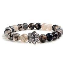Мужской браслет из натурального вулканического камня, серебристые, кошачьи лапы, черная лава, бирюзовые браслеты из бисера, женские браслеты для йоги, модные ювелирные изделия