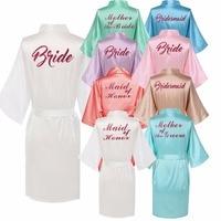 Personalised Robe With Hot Pink Glitter Women Bride Robe Silk Kimono Bridesmaid Robe Bath Satin Robe