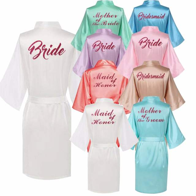a291696947 placeholder Personalised robe with hot pink glitter Women bride robe Silk  Kimono bridesmaid robe Bath satin robe