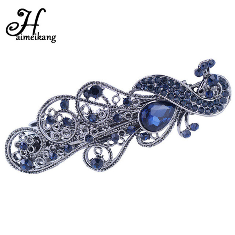 Haimeikang Princess Exquisite Flower Hairpin Fashion Blue Crystal Barrette Hair Clip Headwear Hair Accessories For Woman Girls 1pc fashion lovely women girl metal leaf hair clip crystal hairpin barrette headwear christmas party hair accessory 2016 hot