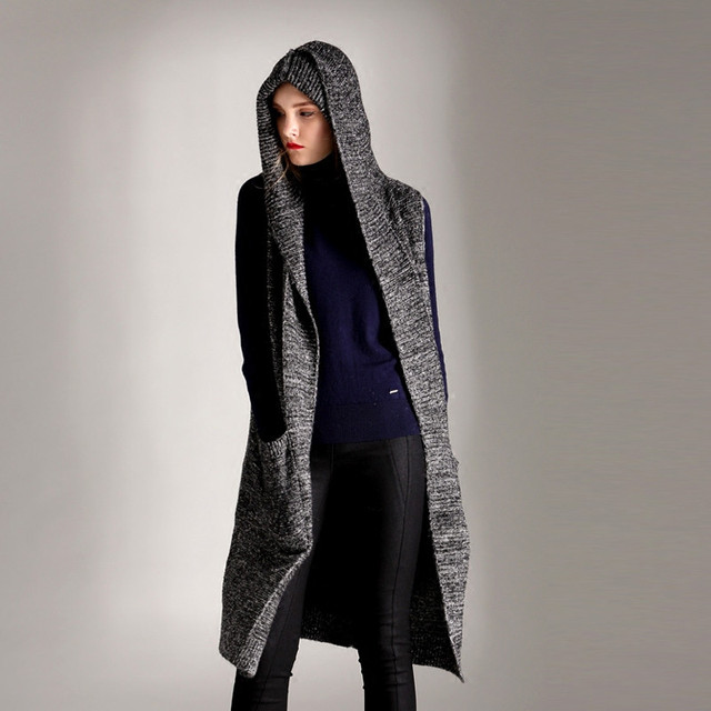 af082fb442f8d wool cotton blends thick knit women new fashion hooded long cardigan  sweater sleeveless dark grey one over size