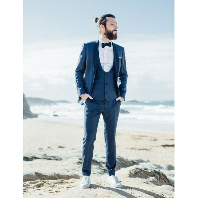 47f0989f9e17 Custom Made Navy Blue Beach Wedding Suits For Men Slim Fit 3 Pieces Groom  Tuxedos Blazer Prom Party Suits (Jacket+Pant+Vest)