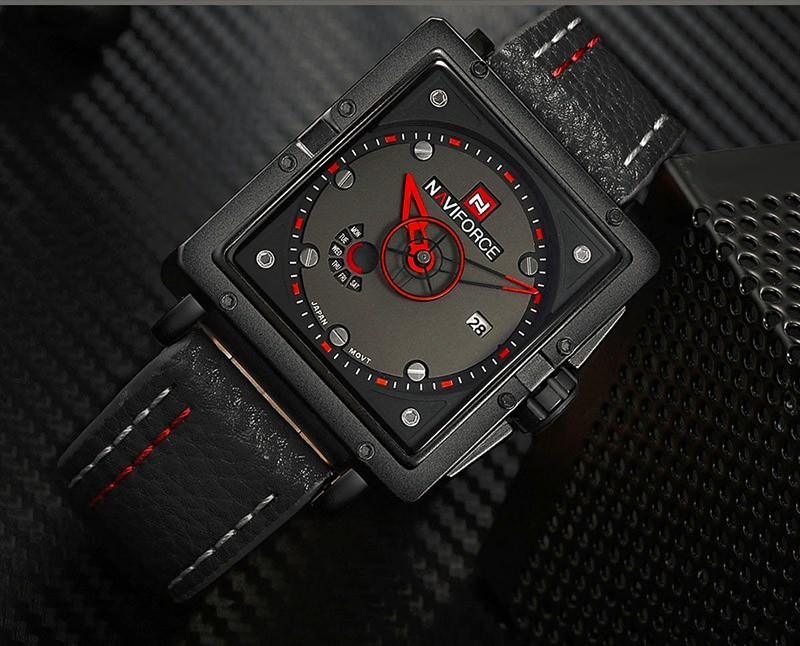 Image 2 - Naviforce Watches Men Brand Luxury Leather Quartz Men Watch Fashion Casual Military Sport Male Date Wristwatches Luminous Clock-in Quartz Watches from Watches