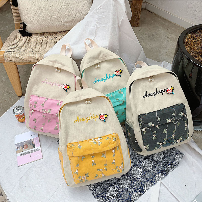flower embroidery backpack panelled canvas Letter Rucksack Student Mochila Mujer School Bags Teenage Girls Laptop Bag Travel in Backpacks from Luggage Bags
