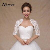 New Ivory Half Sleeve Wedding Jacket Lace Bridal Bolero Shrugs Wraps Capes Stock One Size 2017 Appliques Wedding Accessory