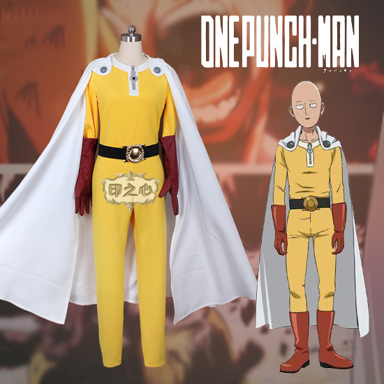 Anime! One Punch Man Saitama Uniform Cosplay Costume Halloween Party Unisex Jumpsuits Outfit Free Shipping