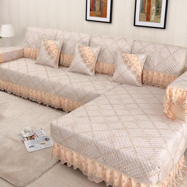 US $18.09 33% OFF|High grade lace sofa cover Linen couch cover Combination  Kit slipcover sofa Thicken On slip Sofa Cushion Backrest Pillowcase-in Sofa  ...