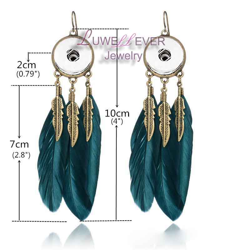nye 08 trendy fjer engel vinge dusk dreamcatcher dangle 12mm 18mm snap button øreringe til kvinder fashion statement ørering