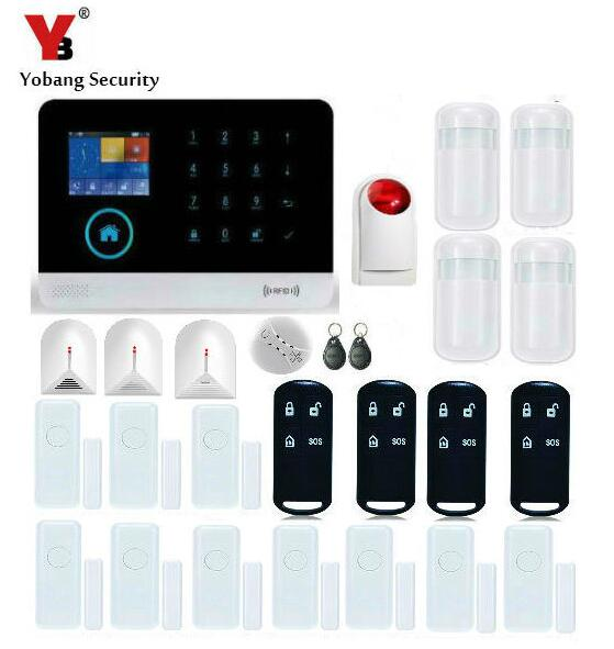 YobangSecurity Touch Keypad Wifi GSM GPRS RFID Home Burglar Security Alarm System Android IOS APP Control Glass Break Sensor wireless smoke fire detector for wireless for touch keypad panel wifi gsm home security burglar voice alarm system