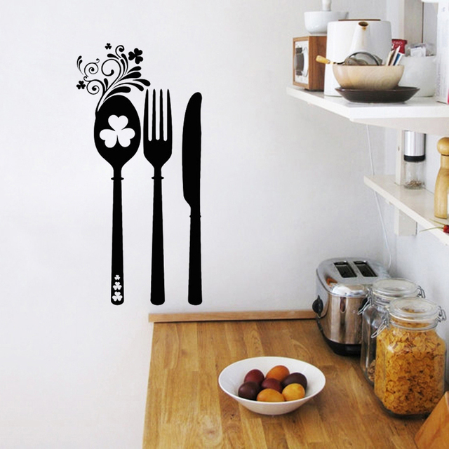 Stickers Flower Irish Cutlery Cuisine Vinyl Wall Sticker Decals Murals Wall  Art Wallpaper Kitchen Home Decor
